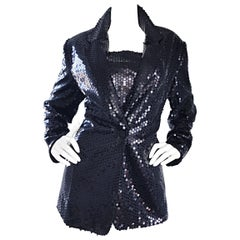 1990s Nicole Miller Size 12 Black Sequin Blazer and Top Vintage 90s Jacket Set