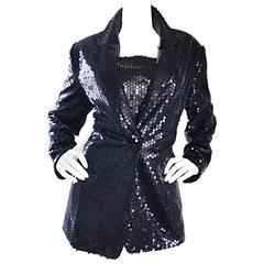 1990s Nicole Miller Black Sequin Blazer and Top Vintage 90s Jacket Set Sz 10 12