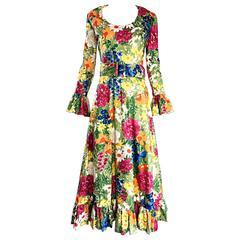 Rare Vintage 1970s Carmen G Flower 70s Boho Belted Floral Cotton Maxi Dress Sz M