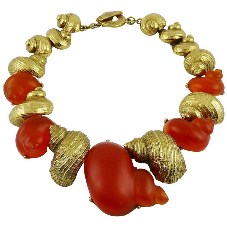 Christian Dior by Robert Goossens Vintage Rare Shell Necklace Dune 1987 1