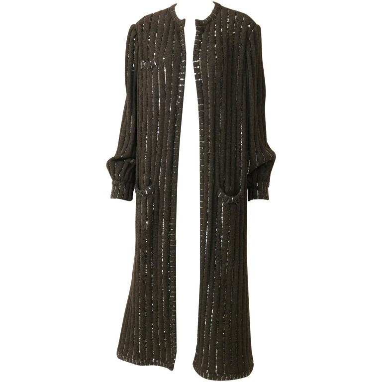 1980s VALENTINO Boutique Black Sequins Sweater Coat 1