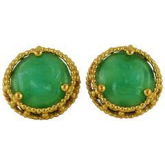 Yves Saint Laurent YSL Vintage Faux Jade Clip-On Earrings