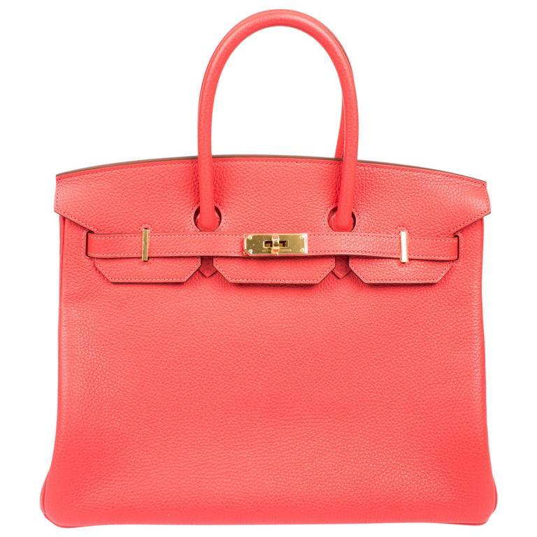 ae1a8d940ec7 Hermès Birkin Bag 35 Taurillon Clemence Rouge Pivoine - goldtone hardware  For Sale