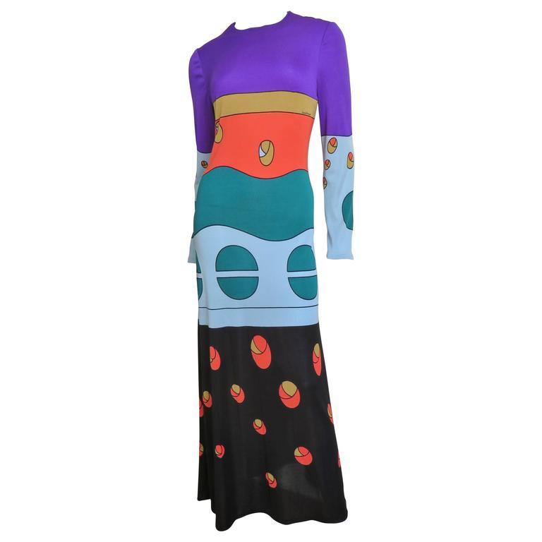 1970s Louis Feraud Mod Maxi Dress