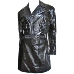 1990s Gianni Versace Patent Leather Motorcycle Jacket & Skirt