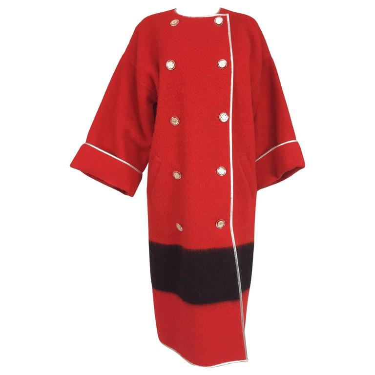 Geoffrey Beene red and black wool blanket coat silver lame trim 1970s For Sale