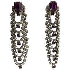 Faux Amethyst and rhinestone draped cascade pierced earrings 1960s