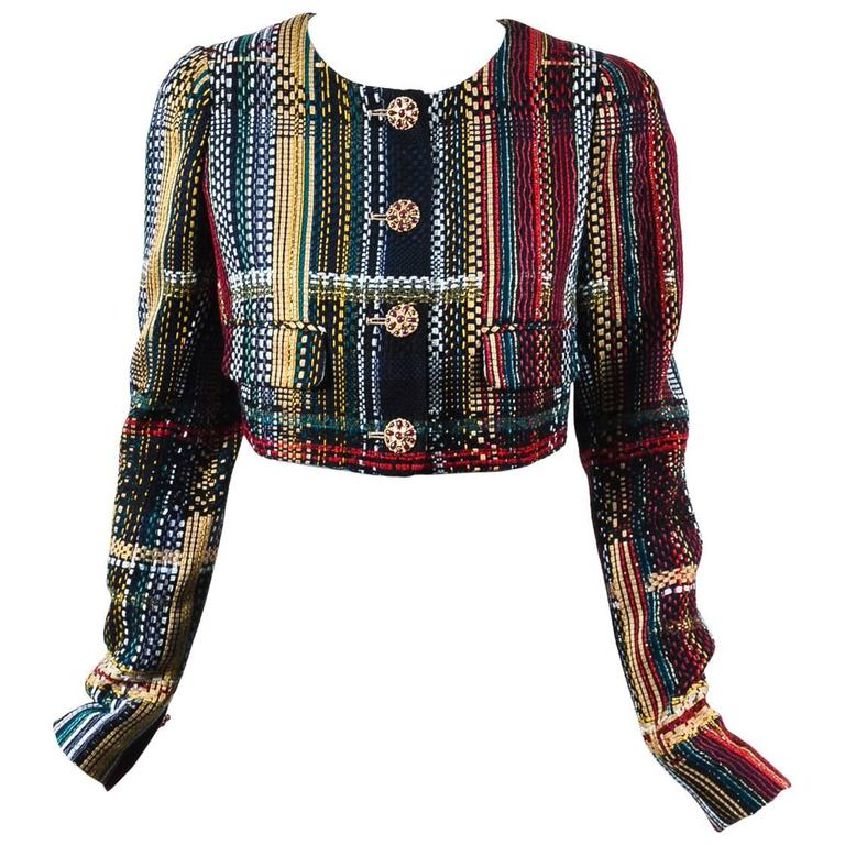 Chanel NWT Runway 2015 Multicolor Tweed Cotton Cropped Long Sleeve Jacket SZ 44 1