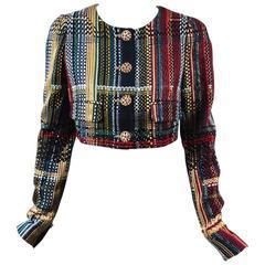 Chanel NWT Runway 2015 Multicolor Tweed Cotton Cropped Long Sleeve Jacket SZ 44