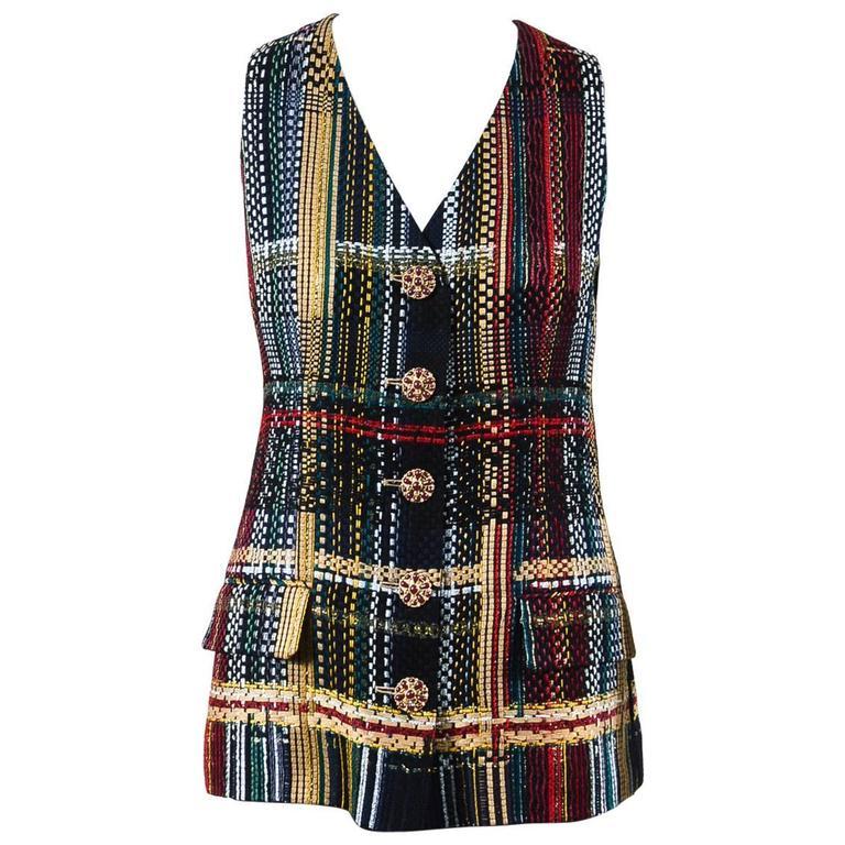 Chanel NWOT Runway 2015 Multicolor Tweed Cotton Sleeveless Buttoned Vest SZ 44 1