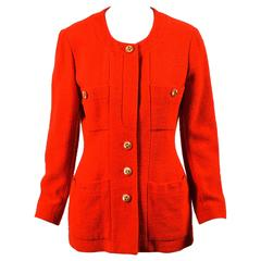 Vintage Chanel Boutique Red Gold 'CC' Buttoned Tweed Jacket SZ 40