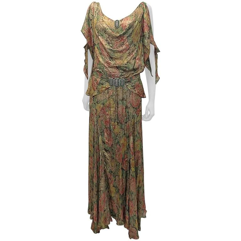 1930's  metallic brocade spectacular gown with crystal buckle belt 1