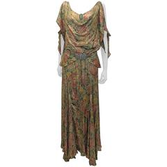 metallic brocade gown with crystal buckle belt, 1930s