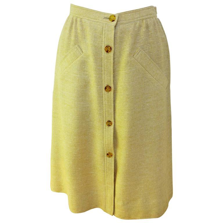 1960s Courreges Paris Beige Button Down Skirt 1