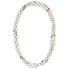 1981 Chanel Long Sautoir Vintage Crystal and Faux Baroque Pearl Necklace