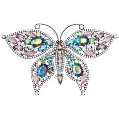 1980s Butler and Wilson Giant 6In Swarovski Crystal Prong Set Butterfly Brooch