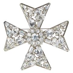 1980s Butler and Wilson Swarovski Diamond Giant Maltese Cross