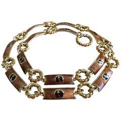 Gucci Vintage 70's Gold Enamel Link Belt