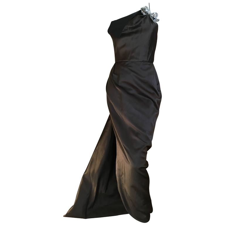 Oscar de la Renta Sweeping Silk Evening Dress in Brown and Navy 1