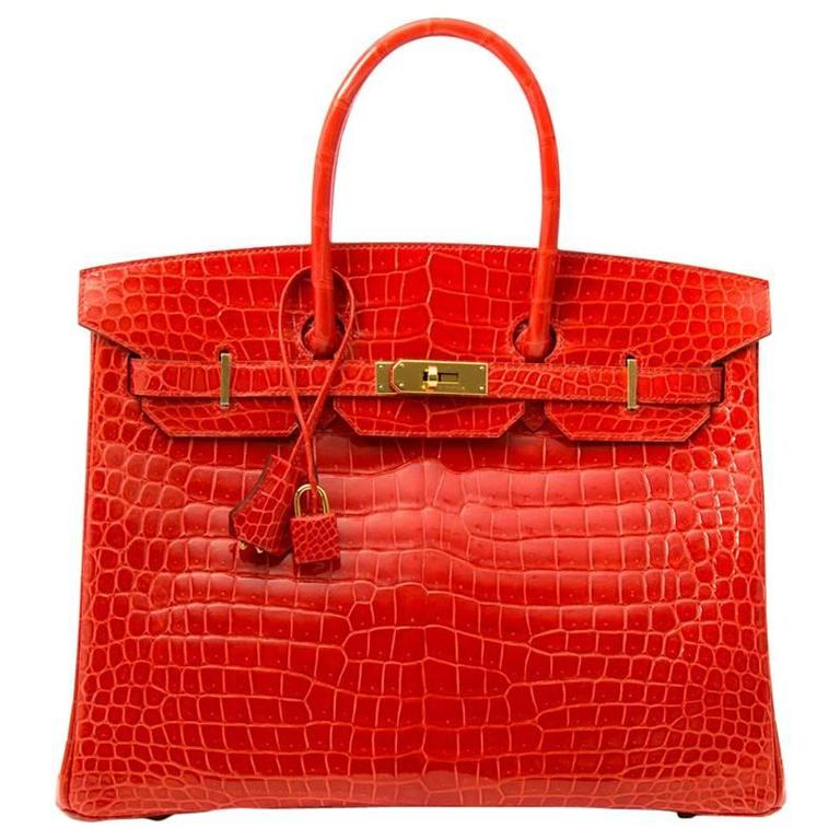 Brand New Hermes Birkin 35 Orange Poppy Porosus Lisse 1