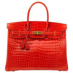 Brand New Hermes Birkin 35 Orange Poppy Porosus Lisse