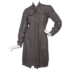 Grey Yves Saint Laurent Wool Bow Collar Dress