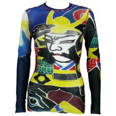Jean Paul Gaultier Maille Vintage Japanese Tattoo Print Mesh Unisex Top Size M