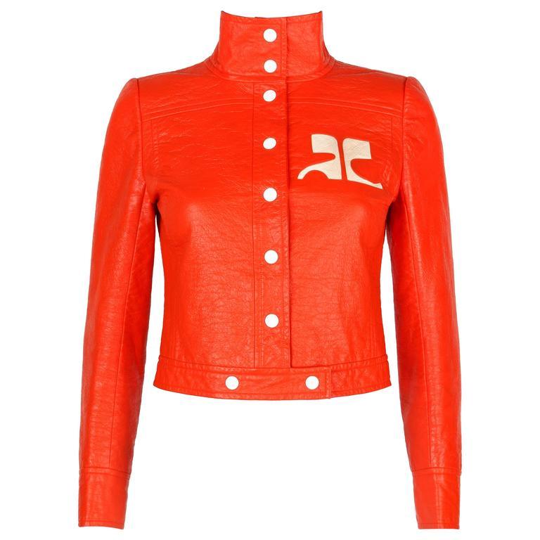 COURREGES PARIS c.1970's Orange Signature Logo Mod Vinyl Faux Leather Jacket