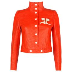 COURREGES PARIS c.1970's Orange Signature Logo Mod Vinyl Faux Leather Jacket