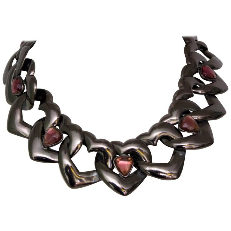A 1990s Yves Saint Laurent Heart Chain Link Necklace  1