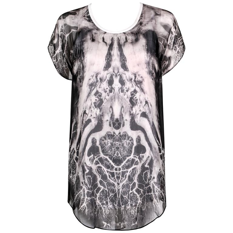 "ALEXANDER McQUEEN c.2010 ""Tree Print"" Black Chiffon Layered Short Sleeve Blouse 1"