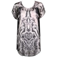 "ALEXANDER McQUEEN c.2010 ""Tree Print"" Black Chiffon Layered Short Sleeve Blouse"