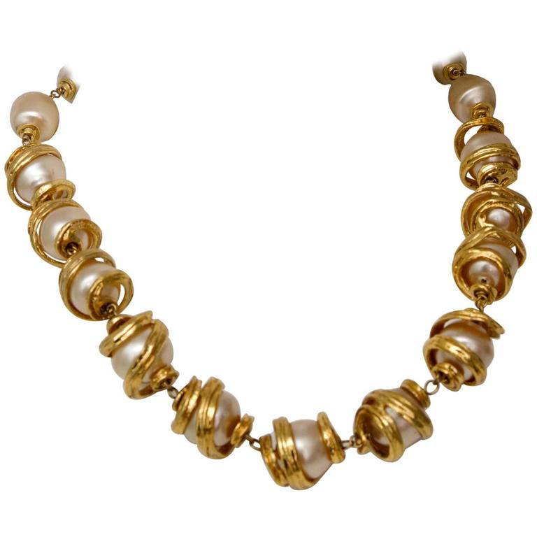 A 1980s Yves Saint Laurent Mother of Pearl Gold Toned Necklace  1