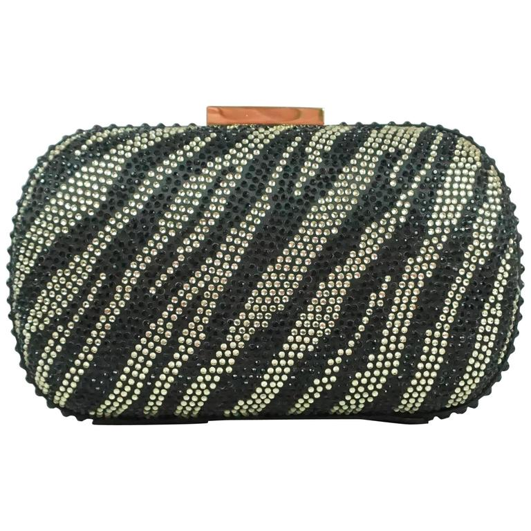 Badgley Mischka Black and Rhinestone Clutch
