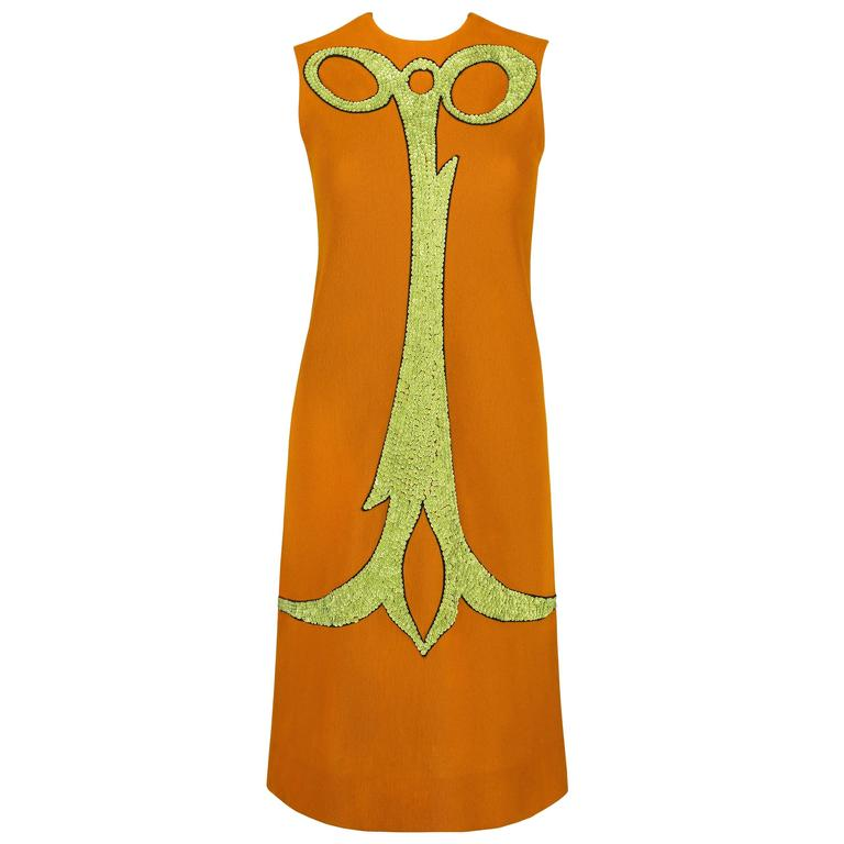 ALEXANDER'S c.1960's Deep Goldenrod Sequin Embellish Mod Sleeveless Shift Dress