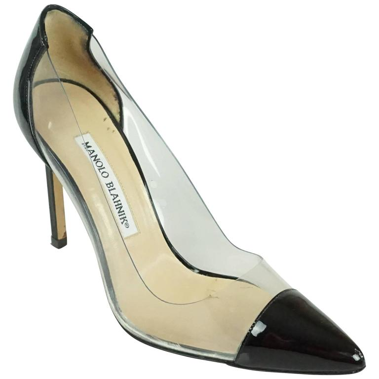 de3f7fd45b Manolo Blahnik Black Patent and Clear Plastic Pumps - 36.5 at 1stdibs