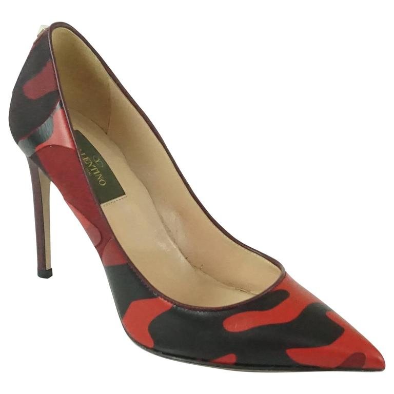 Valentino Red and Black Camo Leather and Fabric Pumps - 36.5