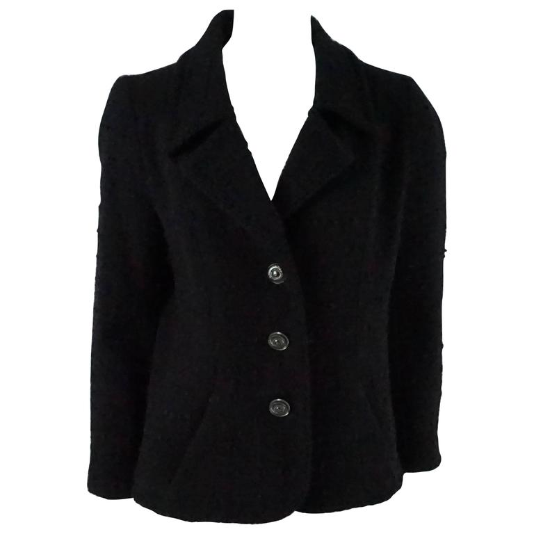 Chanel Black Wool Blend Jacket with Lucite Buttons - 40 1