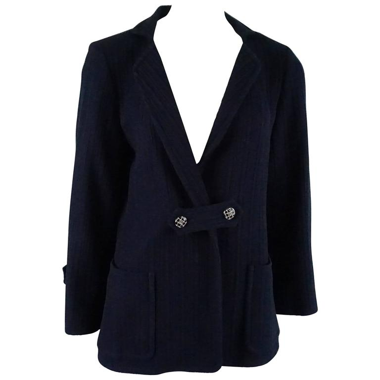 Chanel Navy Cotton Jacket with Enamel Buttons - 42 For Sale