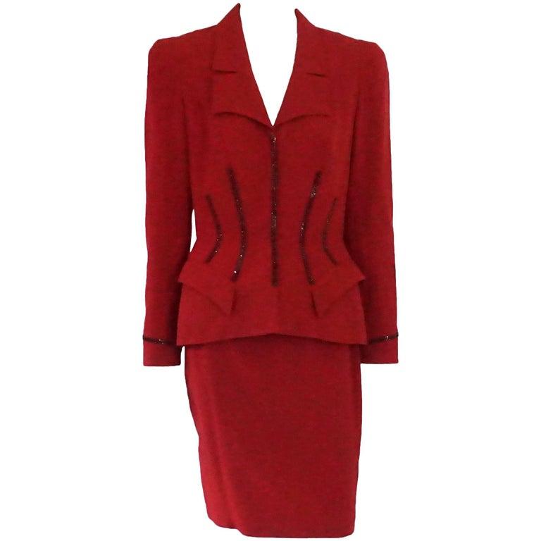 Palm Beach Chic Circa 1990s: Thierry Mugler Red Wool Skirt Suit With Rhinestone Detail