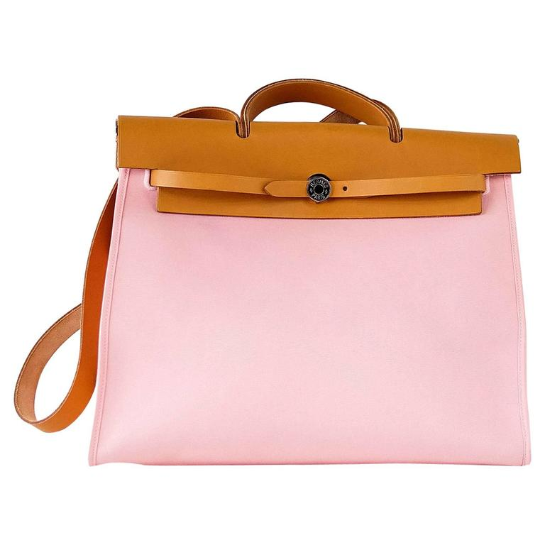 06df8284eee9 Hermes Herbag Zip 39 GM Vache Hunter Rose Sakura Canvas Palladium Hardware  For Sale