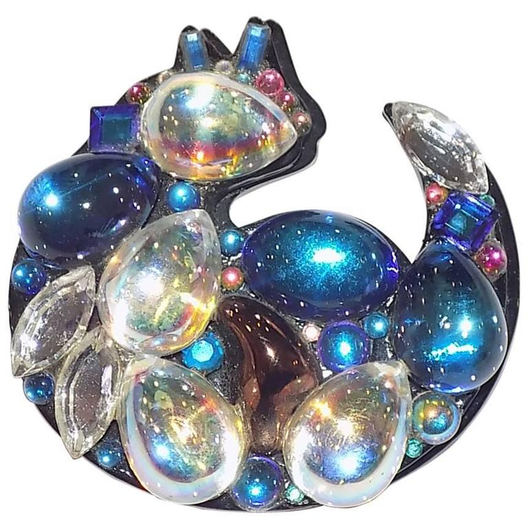 Bill Schiffer Signed Crystal Cat Pin - One of a Kind For Sale