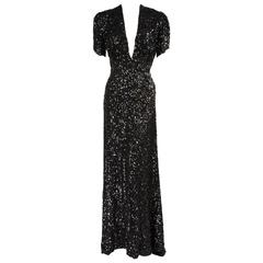 1930's Sparkling Black Sequin Evening Gown with Train