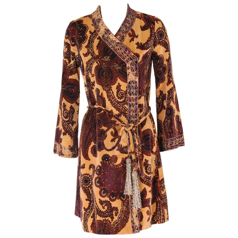Henri Bendel Paisley Velvet Tunic with Beadwork