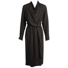 Halston Black Satin Backed Crepe Wrap Dress, Museum Deaccession