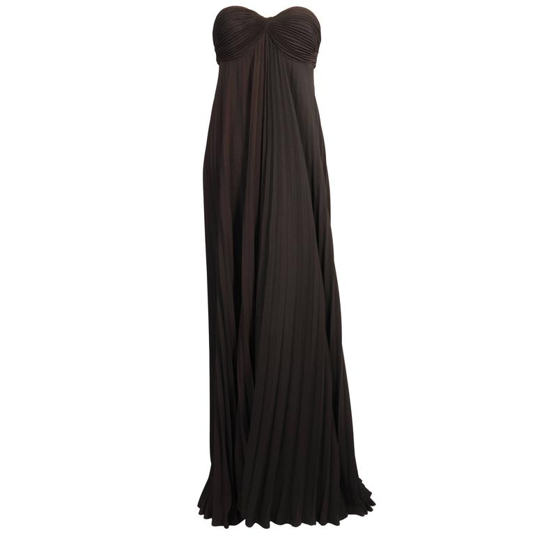 Loris Azzaro Strapless Brown and Black Pleated Evening Gown