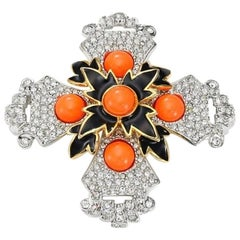 Signed KJL Kenneth Jay Lane MALTESE CROSS Pin Brooch Pendant Estate Find
