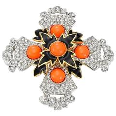 Signed KJL Kenneth Jay Lane MALTESE CROSS Pin Brooch Pendant