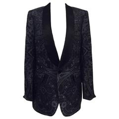 Men's Gucci Silk  Paisley Print Smoking Jacket, Shawl Collar, Black Sz 40