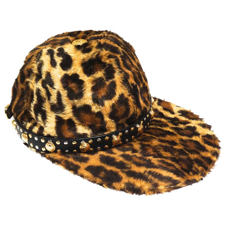 43aaf4d3 Gianni Versace Faux Leopard Medusa Hat, 1990s For Sale at 1stdibs